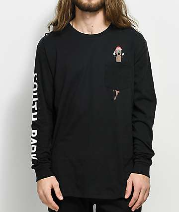 HUF x South Park  Hankey Black Long Sleeve Pocket T-Shirt