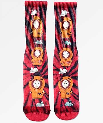 HUF x South Park Dead Kenny calcetines rojos con efecto tie dye