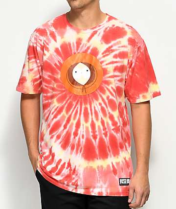HUF x South Park Kenny camiseta en color naranja y rojo con efecto tie dye