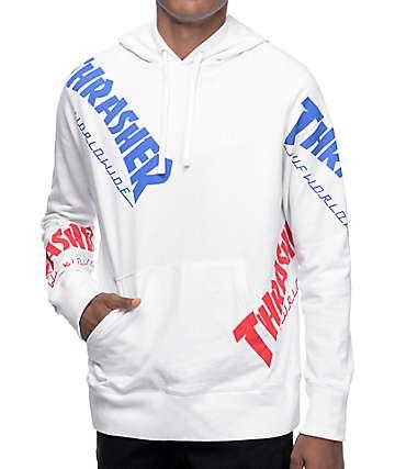 HUF x Thrasher TDS Allover White Hoodie