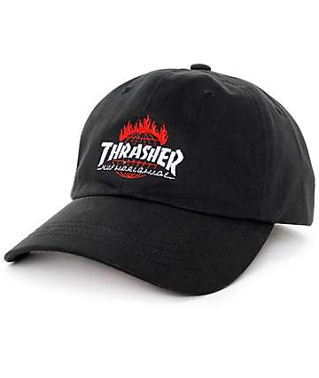 HUF x Thrasher TDS Black 6 Panel Hat