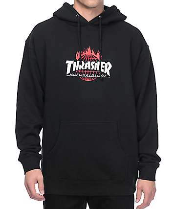 HUF x Thrasher TDS Black Pullover Hoodie