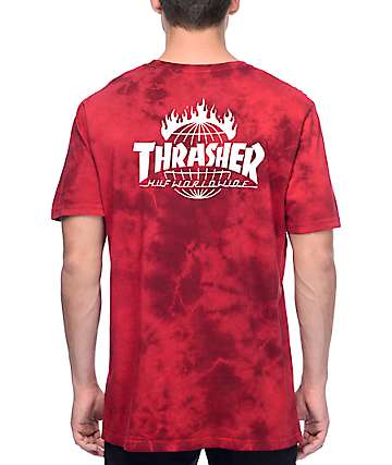 HUF x Thrasher TDS Crystal Red Tie Dye T-Shirt