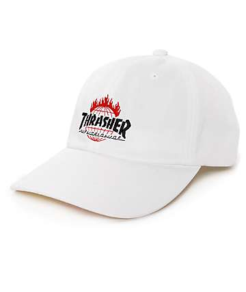 HUF x Thrasher TDS White 6 Panel Hat