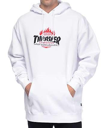 HUF x Thrasher TDS White Hoodie