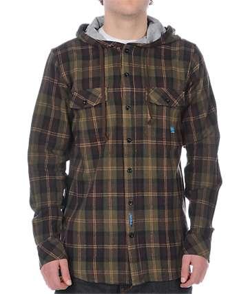 Habitat Alder Chocolate Hooded Flannel Shirt