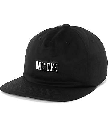 Hall Of Fame HOF Logo Black Strapback Hat