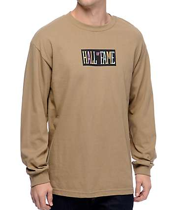 Hall Of Fame Logo Safari Green Long Sleeve T-Shirt