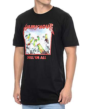 Happy Hour Chill Em All Black T-Shirt