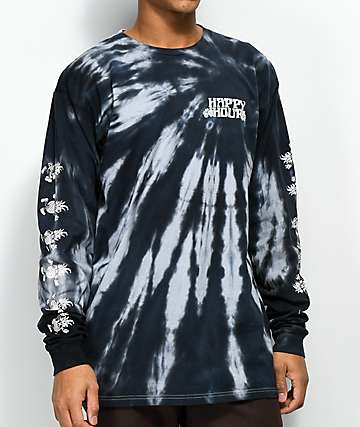 Happy Hour Dancing Pineapple Black Tie Dye Long Sleeve T-Shirt