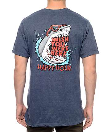 Happy Hour Wish You Were Here Heather Navy T-Shirt