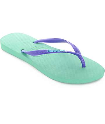 Havaianas Slim Logo Pop Up Light Green Flip Flop Sandals