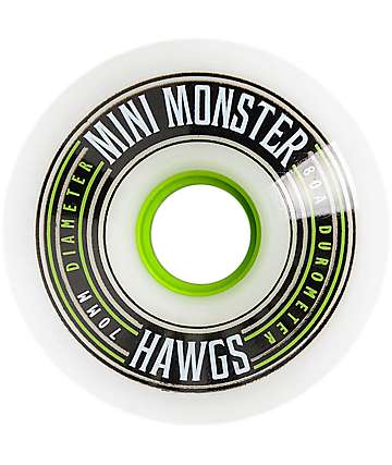 Hawgs 70mm 80a Mini Monsters White Longboard Wheels