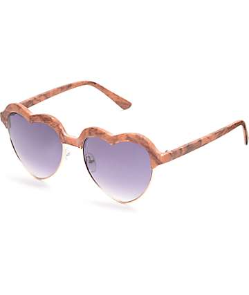 Heart Wood Retro Sunglasses