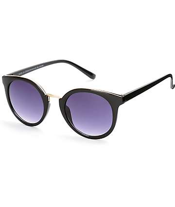 Helium Black Round Sunglasses