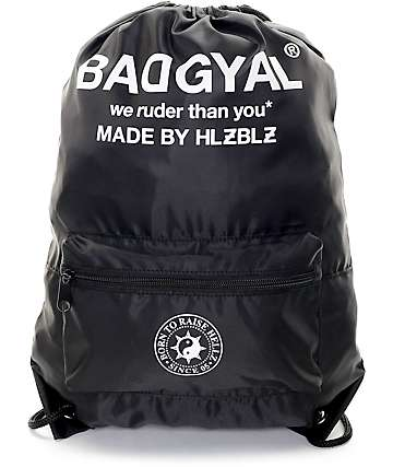 Hellz Bellz Bad Gyal Black Nylon Cinch Bag