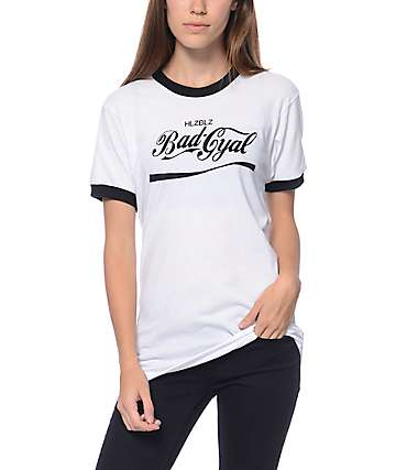 Hellz Bellz Bad Gyal White Ringer T-Shirt