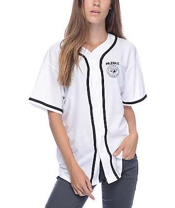 Hellz Bellz Crest White Baseball Jersey