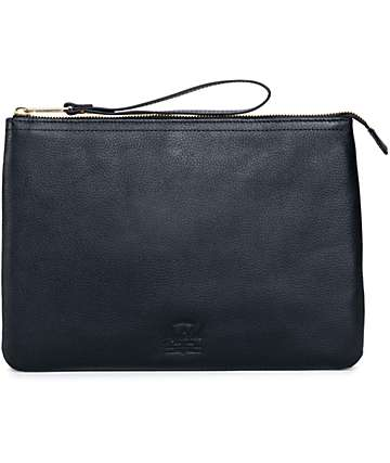 Herschel Supply Casey Black Pebbled Leather XL Pouch