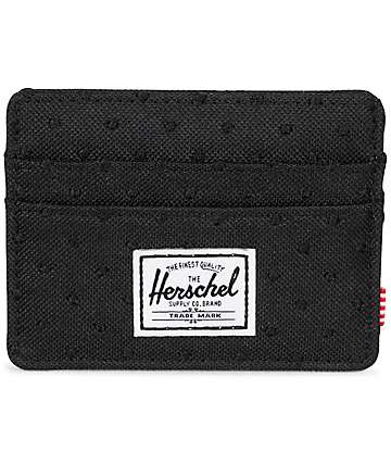 Herschel Supply Charlie Embroidery Polka Dot Black Wallet