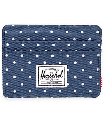 Herschel Supply Charlie Embroidery Polka Dot Navy Wallet