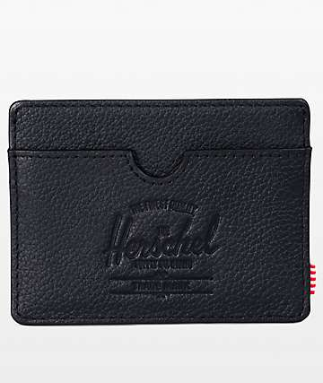 Herschel Supply Co. Charlie Black Pebbled Leather Cardholder Wallet