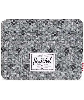 Herschel Supply Co. Charlie tarjetero en gris tejido con puntos negros