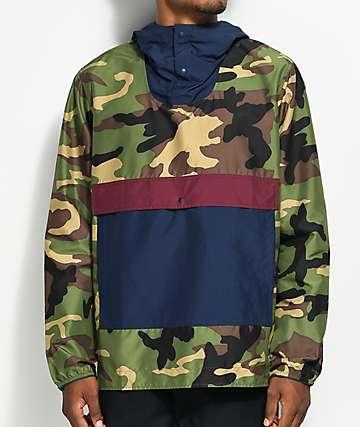 Herschel Supply Co. Voyage chaqueta anorak en camuflado, azul marino y color vino
