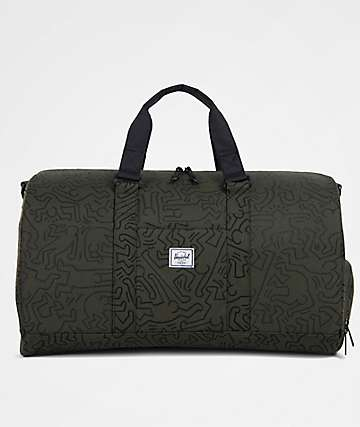 Herschel Supply Co. X Keith Haring Novel Forest Green & Black 42.5L Duffle Bag