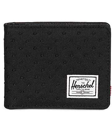 Herschel Supply Hank Embroidery Polka Dot Black Bifold Wallet