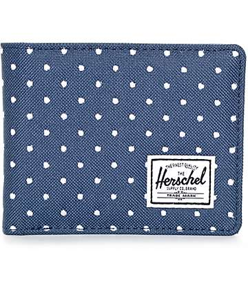 Herschel Supply Hank Navy Embroidered Polka Dot Bifold Walelt