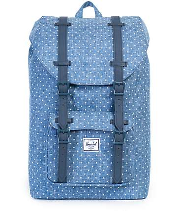 Herschel Supply Little America Crosshatch Polka Dot Blue Mid 17L Backpack