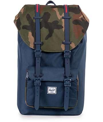 Herschel Supply Little America mochila 25L en azul con detalle camuflado