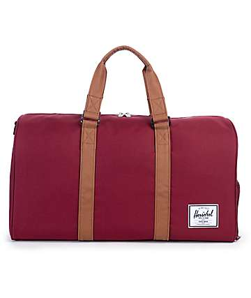 Herschel Supply Novel Wine & Tan 42.5L Duffle Bag