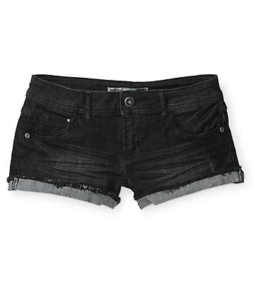 Highway Cuffed Black Denim Shorts