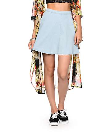 Highway Jeans Light Wash Denim Skater Skirt