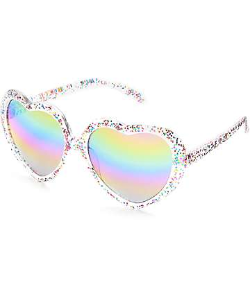 Holiday Glitter Rainbow Heart Sunglasses