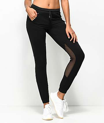 Hologram Mesh Inset Black Jogger Pants