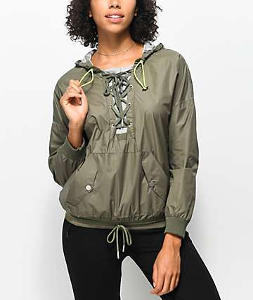 Hologram Olive Lace Up Windbreaker Jacket