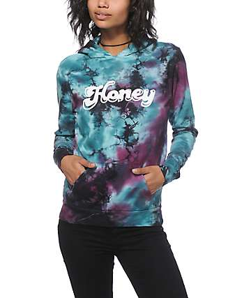 Honey Brand Co. Blue & Purple Tie Dye Hoodie