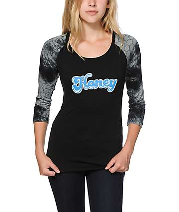 Honey Brand Co. Boogie Black Tie Dye Baseball Tee