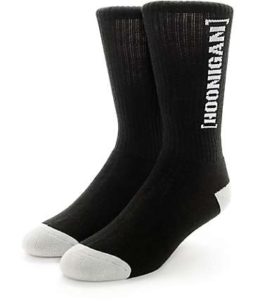 Hoonigan NLCK Bracket Logo Black Crew Socks