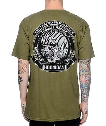 Hoonigan Neck Breaking Olive T-Shirt