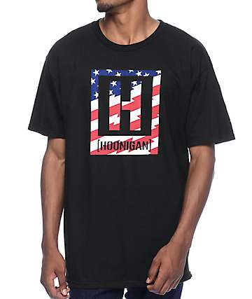 Hoonigan Stars & Stripes Black T-Shirt