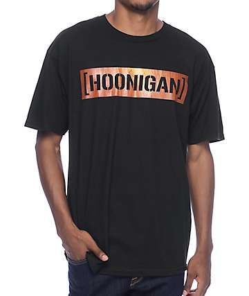 Hoonigan Wood Grain Bar Black T-Shirt