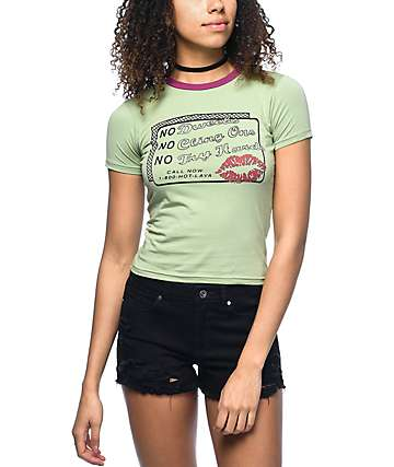 Hot Lava No Dweebs Green Ringer T-Shirt
