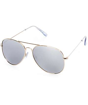 Hotel California Mirrored Gold Aviator Sunglasses