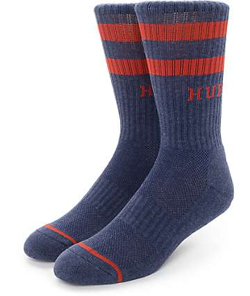 Huf 2 Stripe Heather Navy Crew Socks