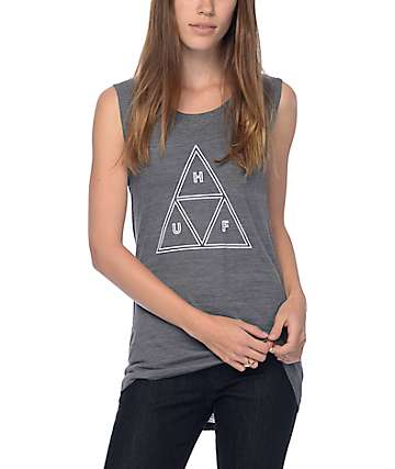 Huf Outline Triangle Grey Muscle Tank Top