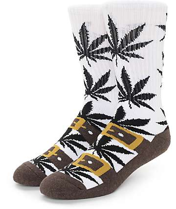 Huf Recreational Plantlife Brown Birk Crew Socks